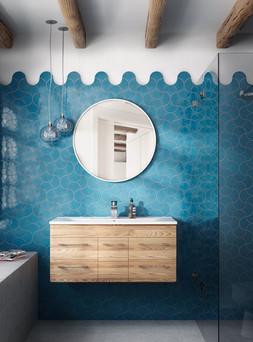 אריחי מניפה בכחול בחדר רחצה