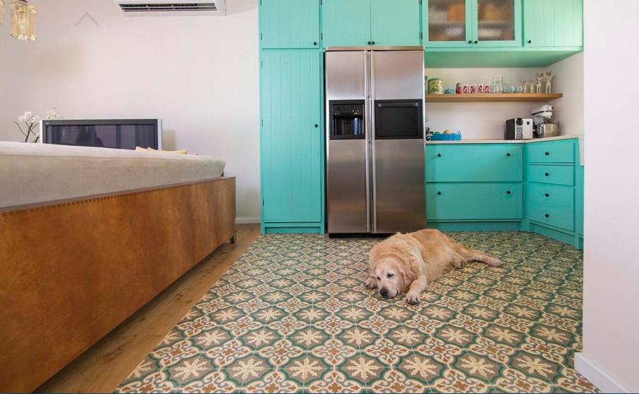 בלטות מצויירות ברצפת מטבח