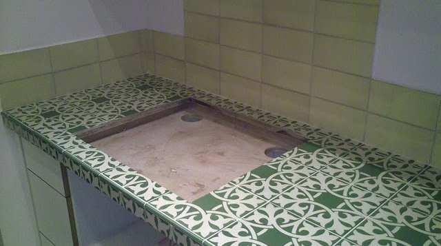 משטח במטבח מחופה קרמיקה