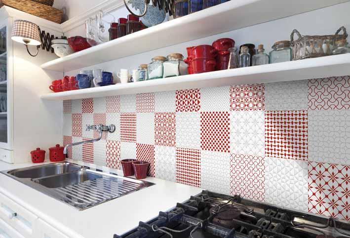 חיפוי קיר מטבח באדום ולבן