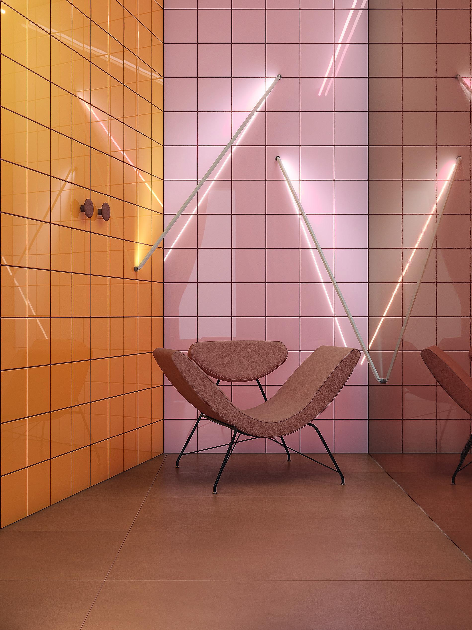 אריחים צבעוניים בחיפוי קירות
