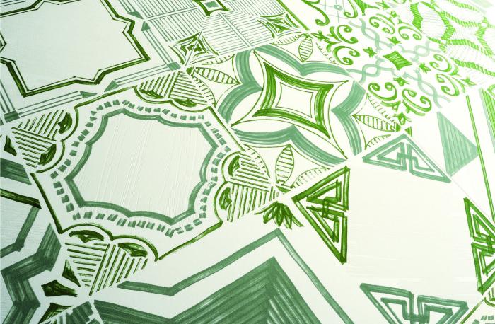 אריחי שטיח מעוטרים מגרניט פורצלן