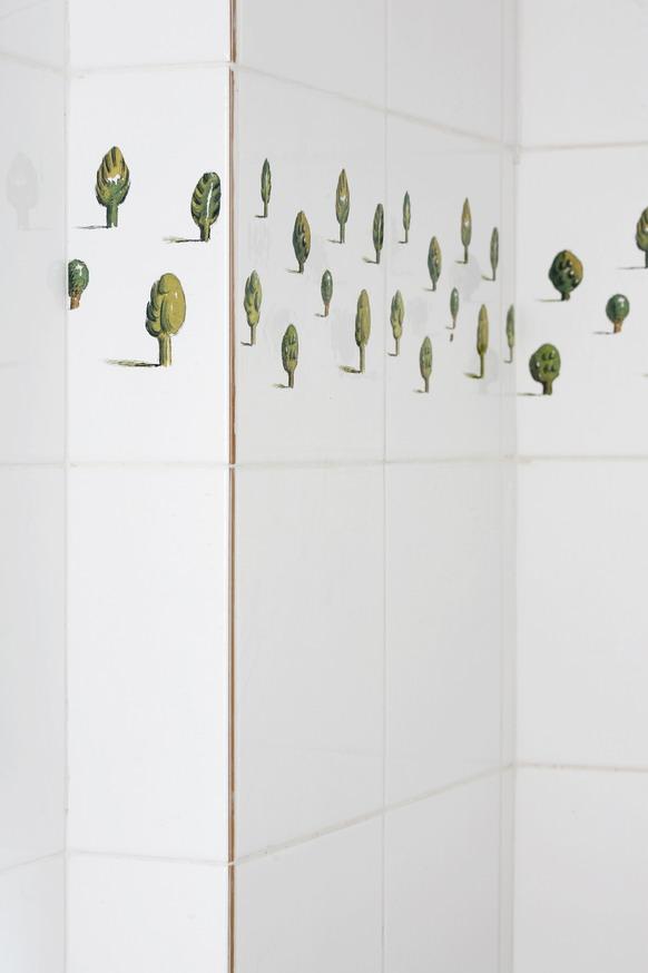 קירות מקלחון באריחים מעוטרים