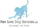Paw Love Dog Services Logo- blue dog in play stance