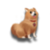 Poppy cartoon character dog chihuahua pomeranian furry brown small tiny red collar paw The Brain Train game mobile app