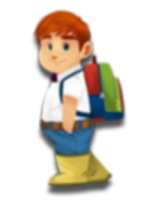 Norman Noms cartoon character boy ginger hair redhead green eyes face freckles purple bowtie white shirt blue jeans yellow boots belt backpack hungry round The Brain Train game mobile app