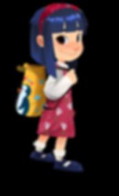 Gracie cartoon character cute asian girl pink dress blue hair yellow penguin bag backpack harvestsack brown eyes headband bangs floral pink dress flowers The Brain Train game mobile app