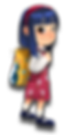 Gracie cartoon character cute asian girl pink dress blue hair yellow penguin bag backpack harvestsack brown eyes headband bangs floral pink dress flowers The Brain Train game mobile app