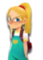 Ruby cartoon character girl caucasian white blond blonde yellow hair blue eyes bespectacled spectacles glasses red hairtie jumper overalls backpack freckles earrings The Brain Train game mobile app