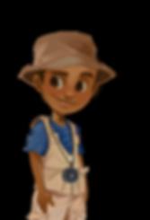 Jack cartoon character boy african boy outdoor vest compass adventure adventurer fishing hat brown eyes jungle The Brain Train game mobile app