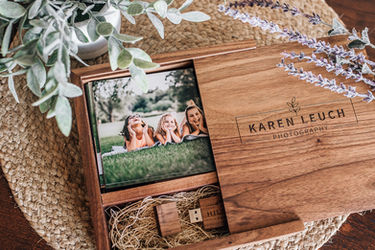 4x6 proof walnut print box with digitals on custom usb