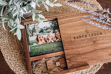 4x6 proof walnut print box with digitals on custom usb