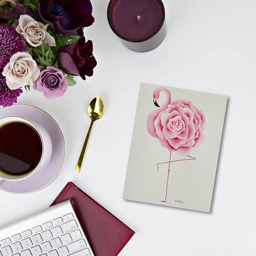 Flami-Rose Note Card & Greeting Card