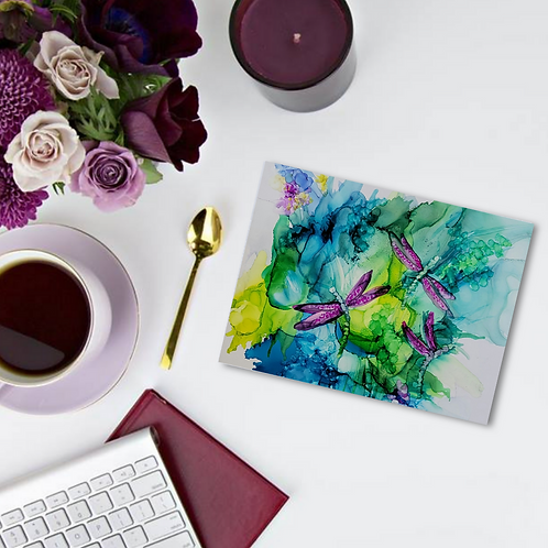 A new set of alcohol ink notecards