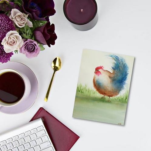 Rusty Rooster Note Card & Greeting Card