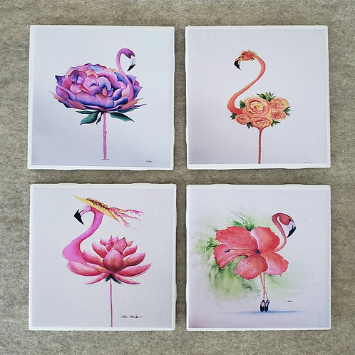 Set of 4 Flamingo Coasters