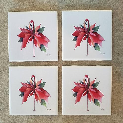 Set of 4 Christmas Flamingo Coasters