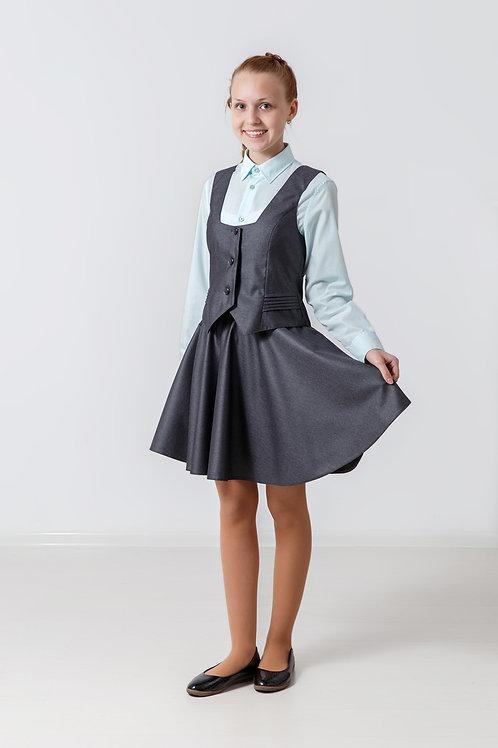 Жилет для девочки «Лера» со складками серая костюмная