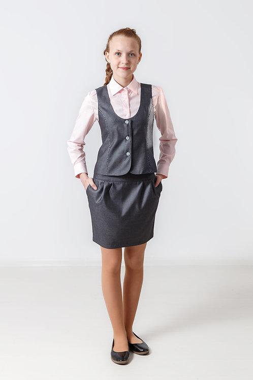 Жилет для девочки классический серая костюмная + серая клетка кант