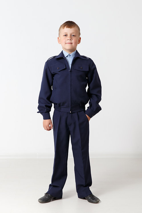 Куртка на молнии «Школьник» синий габардин