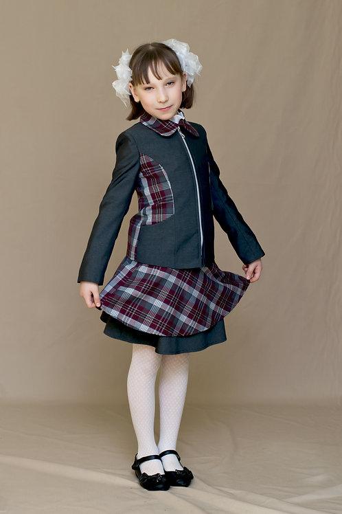 Жакет для девочки «Даша» серая костюмная + бордовая клетка