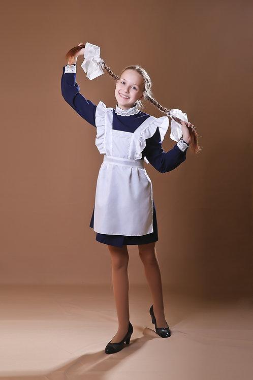 Платье для Последнего звонка темно-синее, воротник - стойка
