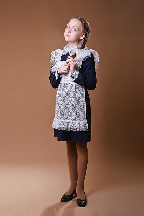 Платье для Последнего звонка темно-синее, отложной воротник