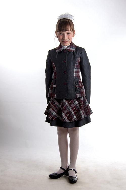 Жакет для девочки «Ника» серая костюмная + бордовая клетка
