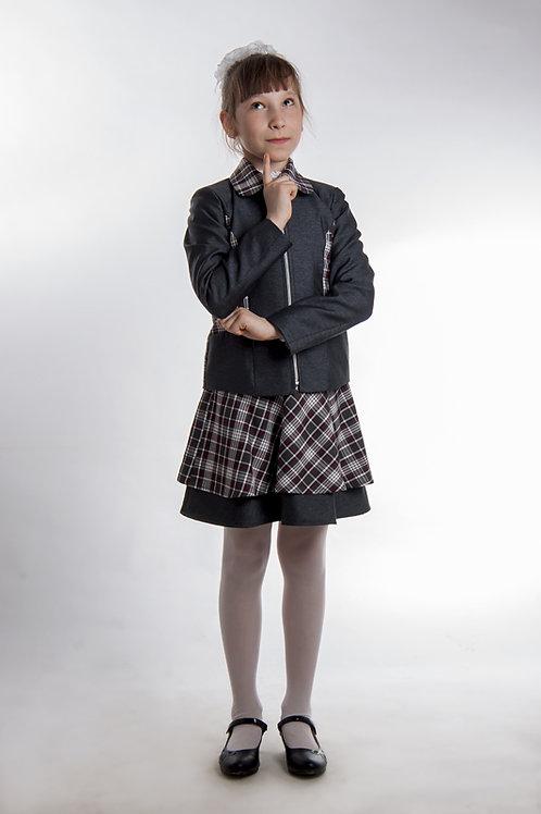 Жакет для девочки «Даша» серая костюмная + белая клетка