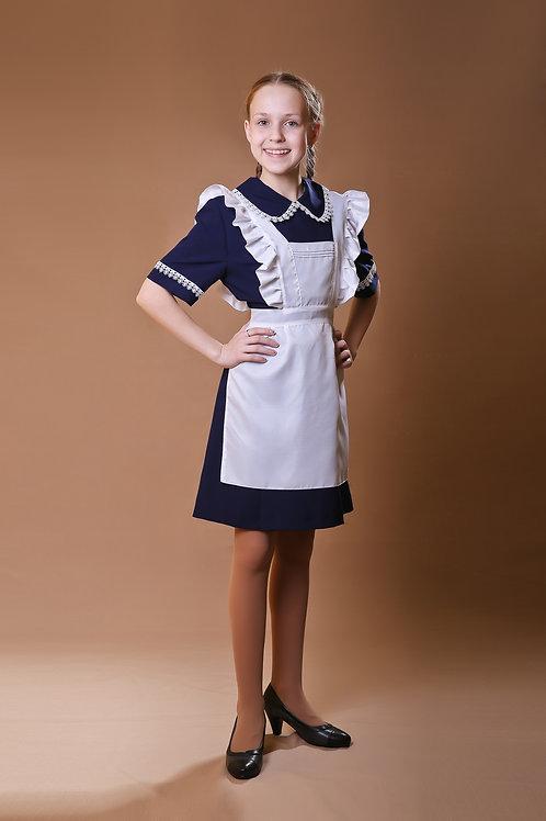 Платье для Последнего звонка тёмно-синее с коротким рукавом, отложной воротник