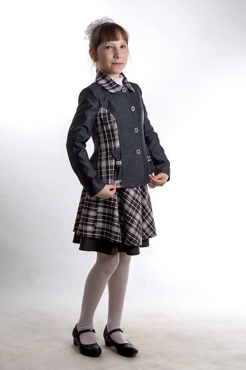 Жакет для девочки «Ника» серая костюмная + белая клетка