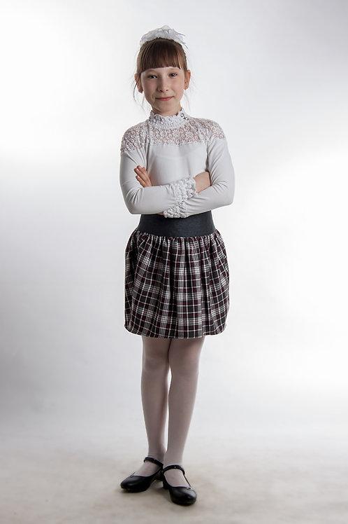 Юбка «Тюльпан» серая костюмная + белая клетка