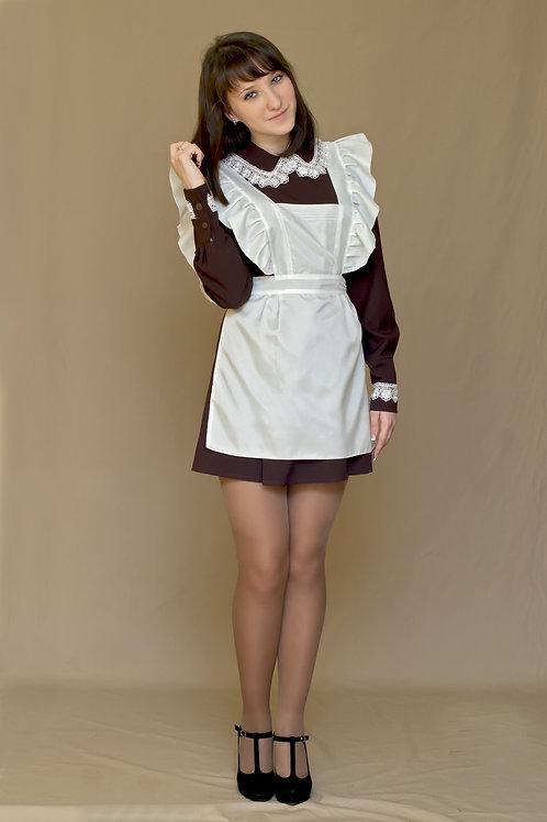 Платье для Последнего звонка коричневое, отложной воротник