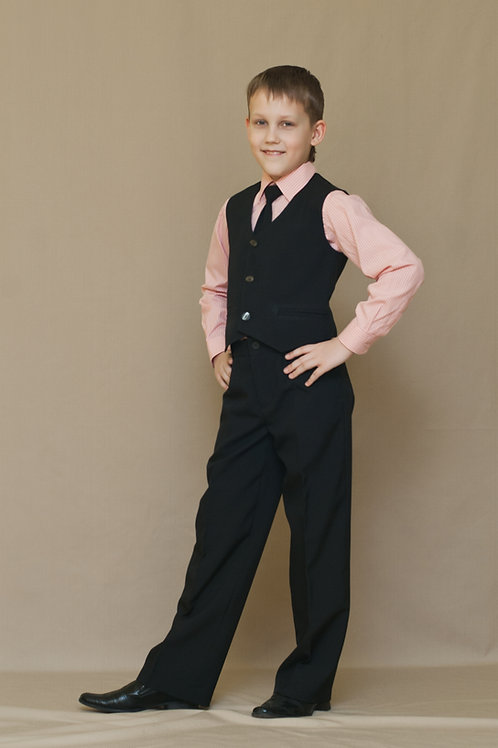 Жилет для мальчика классический, ткань чёрная п/ш