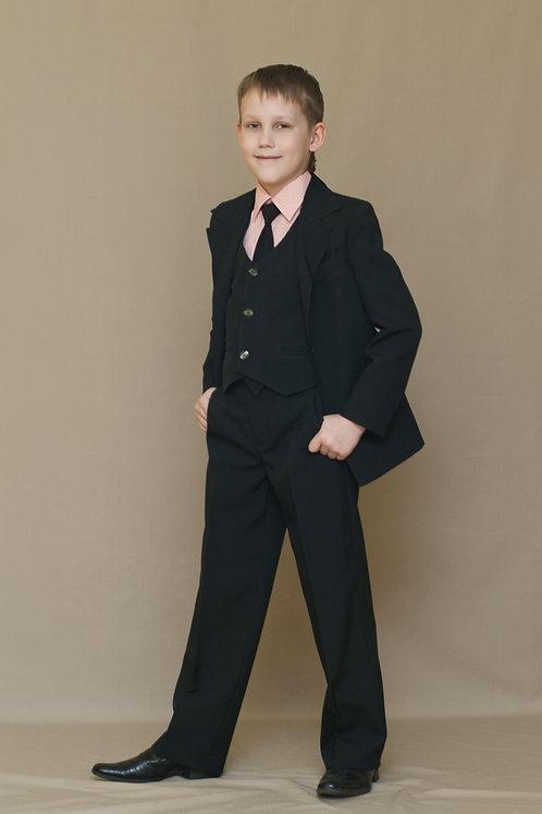 Пиджак для мальчика с одной шлицей, ткань чёрный габардин
