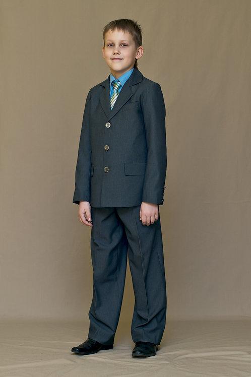 Пиджак для мальчика с одной шлицей, ткань серая п/ш