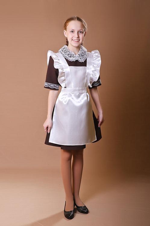 Платье для Последнего звонка коричневое с коротким рукавом, отложной воротник