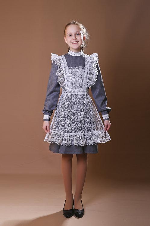 Платье для Последнего звонка серое, воротник – стойка