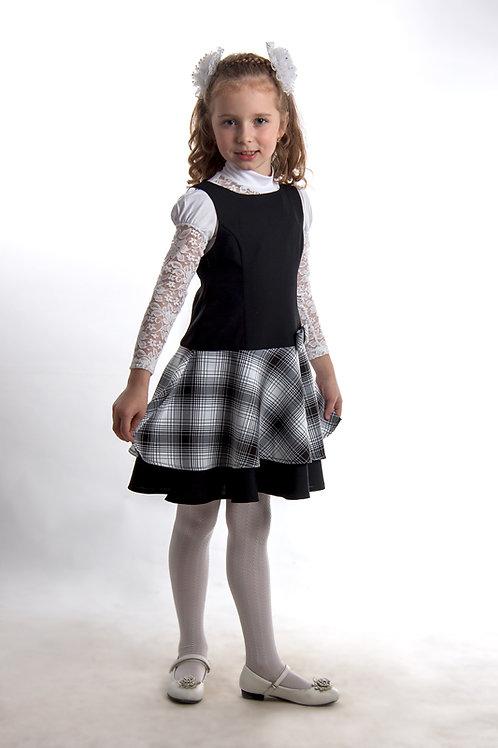 Сарафан «Маша» чёрно-белый габардин