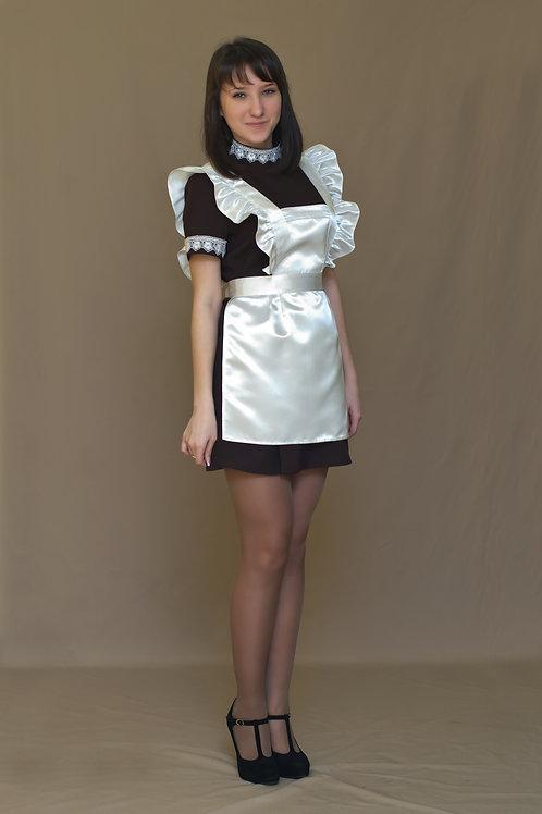Платье для Последнего звонка коричневое с коротким рукавом, воротник - стойка