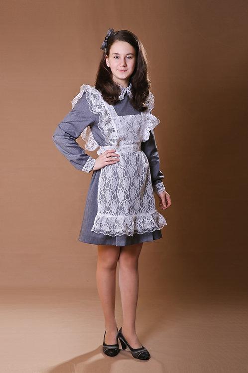 Платье для Последнего звонка серое, отложной воротник