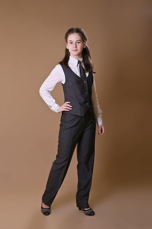 Брюки для девочки классические серая костюмная