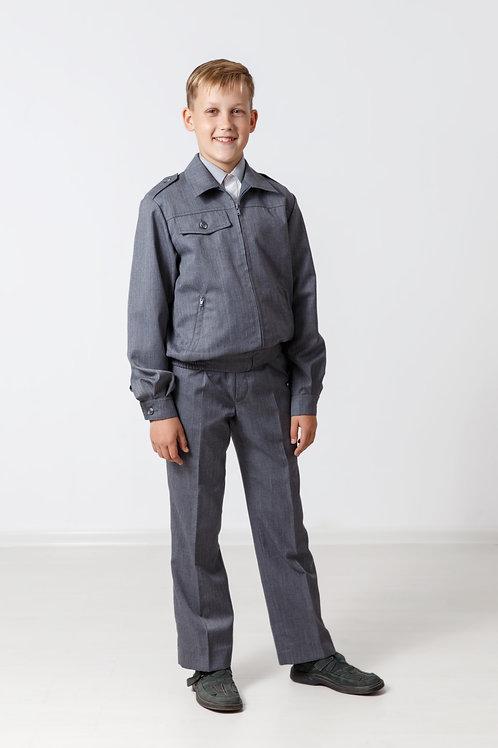 Куртка на молнии «Школьник» серая полушерсть