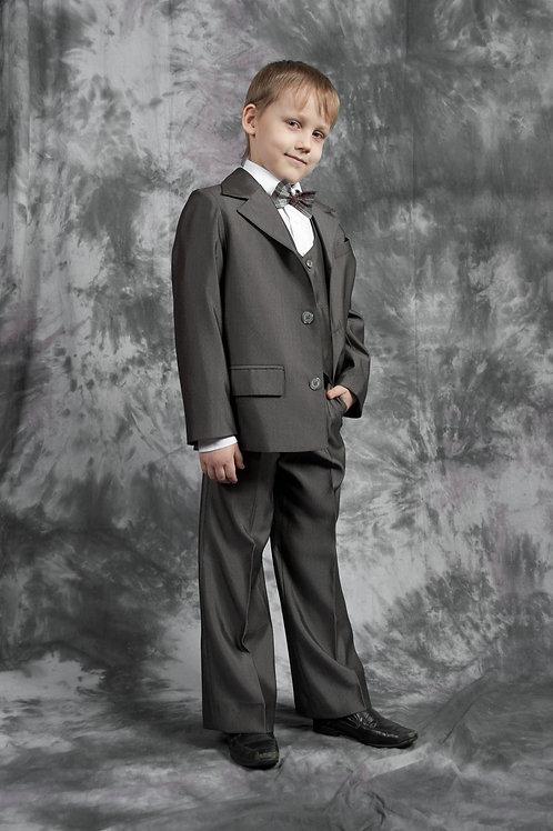 Пиджак для мальчика с одной шлицей, ткань серая костюмная