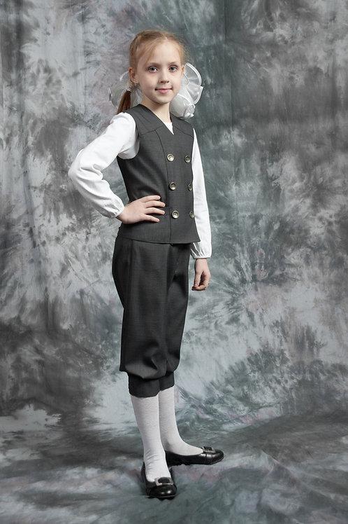 Бриджи для девочки с резинкой серая костюмная