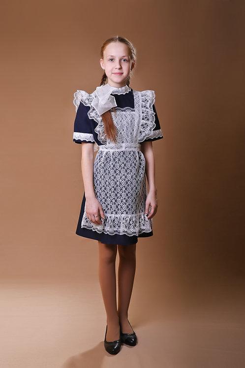 Платье для Последнего звонка тёмно-синее с коротким рукавом, воротник - стойка