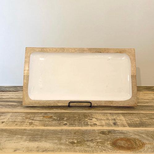 Large enameled mango wood tray