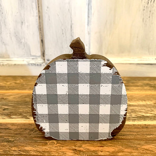 Medium grey/white check wood pumpkin