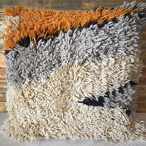 Square wool shag pillow