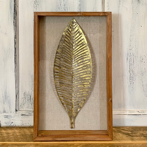 Metal leaf/wood wall decor